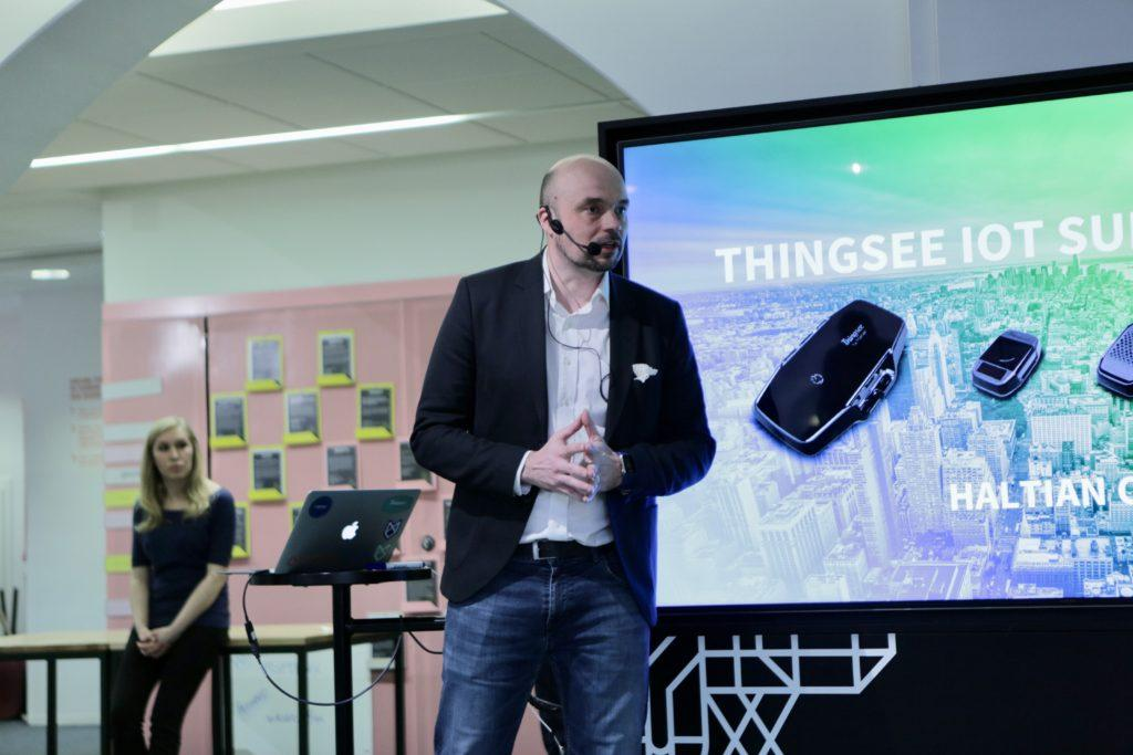 Pasi Leipala giving presentation during Thingsee IoT Summit 2018