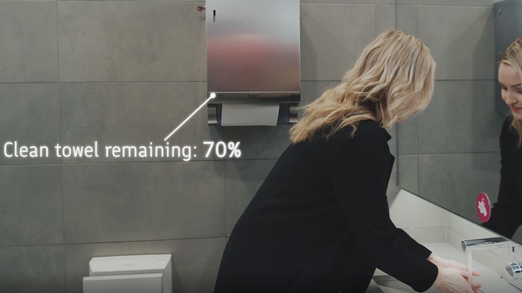 Smart Washroom dispenser showing 70% towel remaining, IoT, smart washrooms