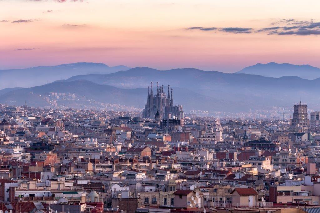 Barcelona top view during sunset