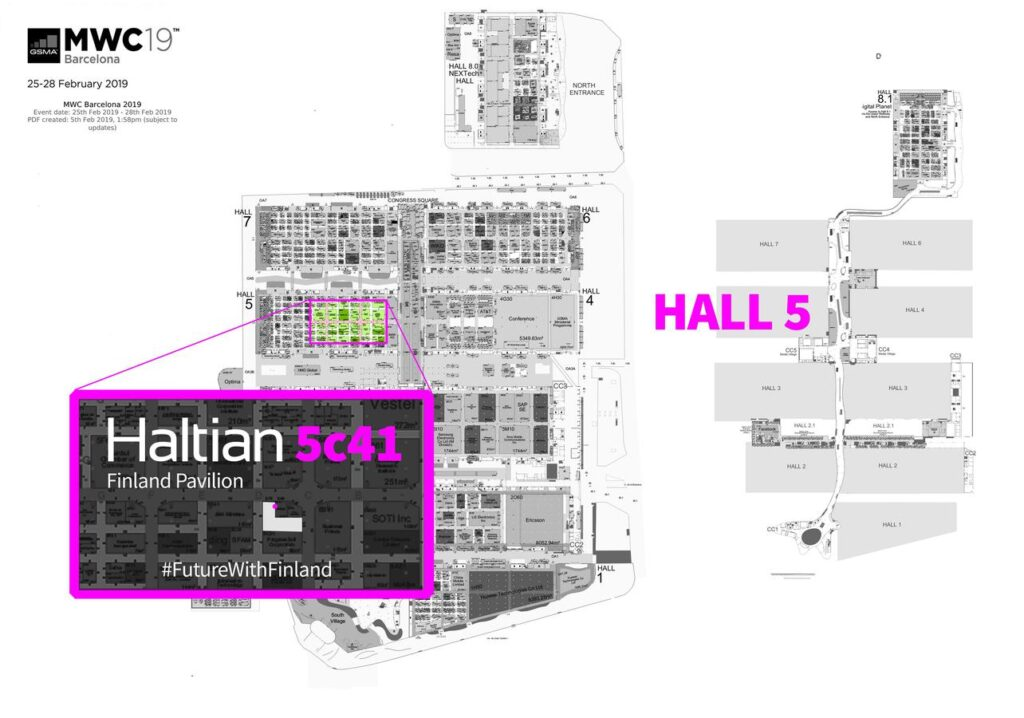Haltian location at the Mobile World Congress in 2019
