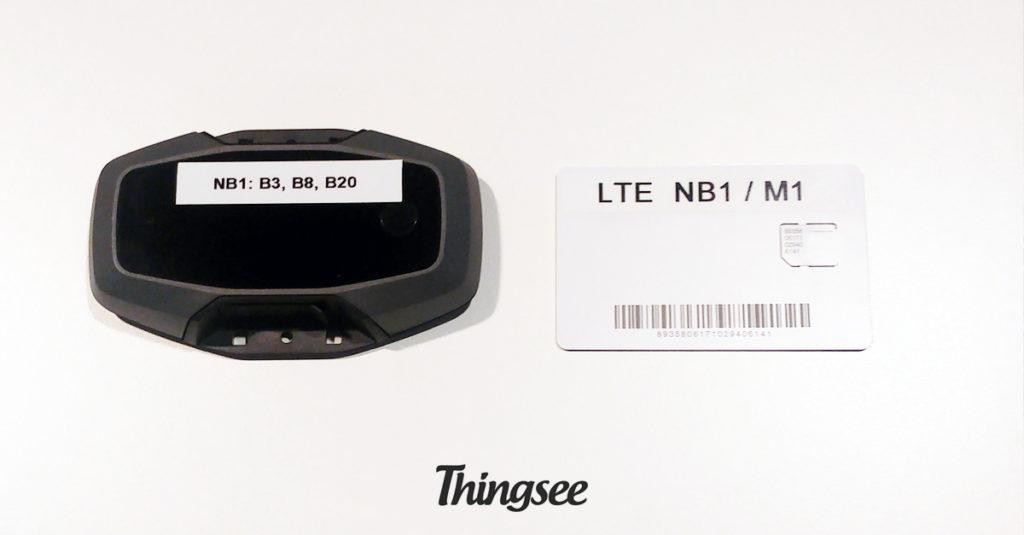 Thingsee NB-IoT LTE-M Device on a table