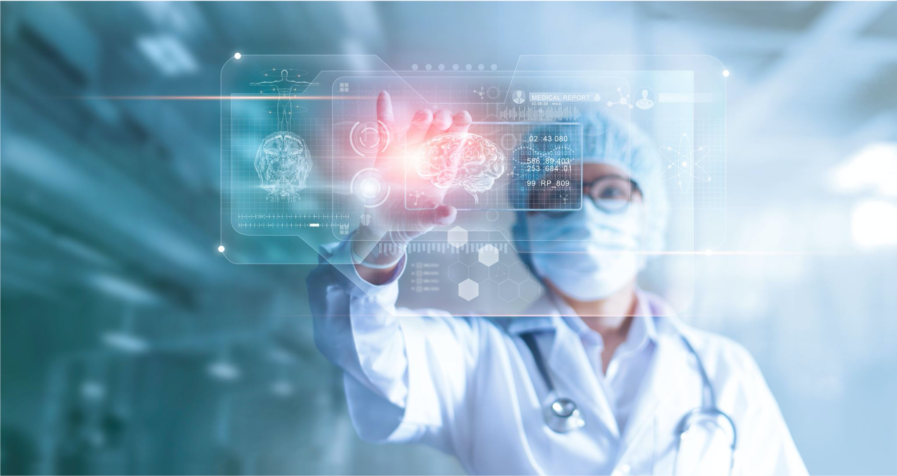 doctor touching smart screen with brain image