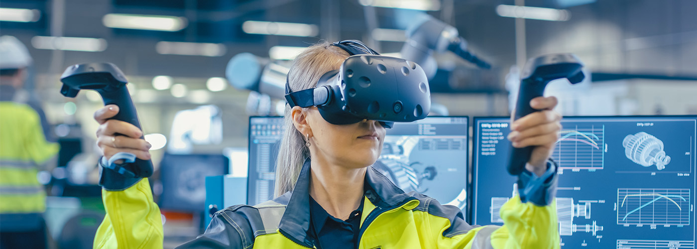 woman using VR technology in job training