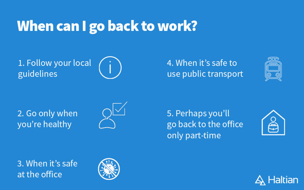When to go back to work at the office, list of guidelines