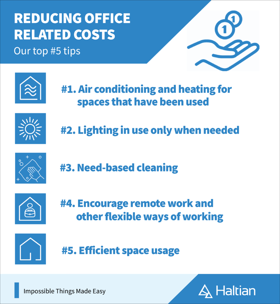 reducing office-related costs, Haltian infographic