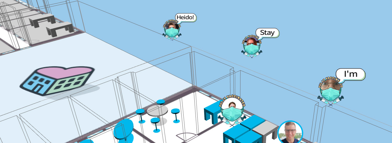 Empathic Building digital twin showing COVID guidelines at the office