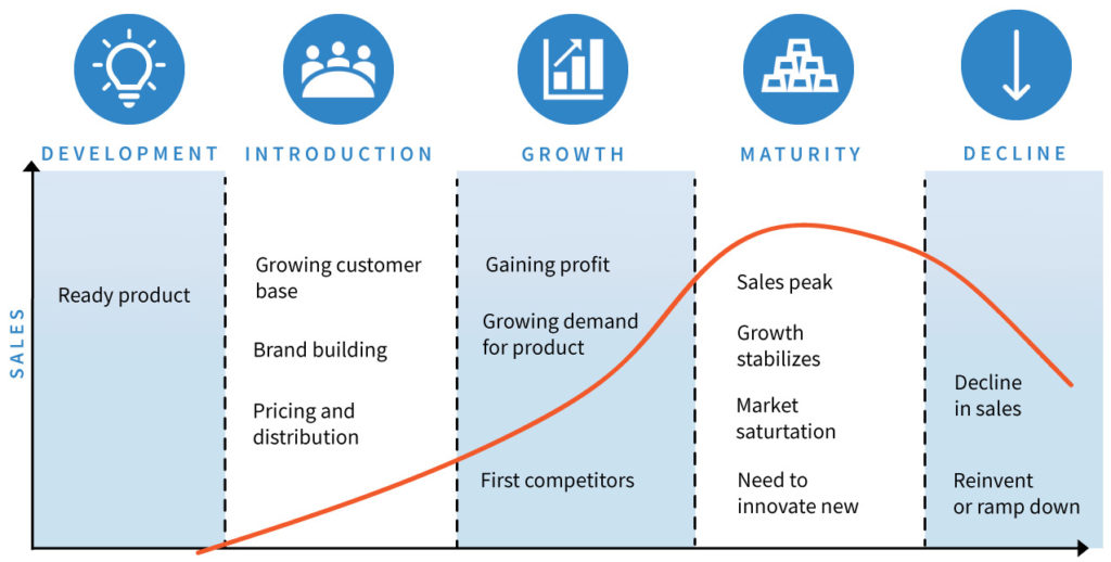 infographic on new product development cycle from introduction to decline